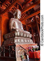 Silver Buddha in Wooden Hall Altar Jing An Tranquility...