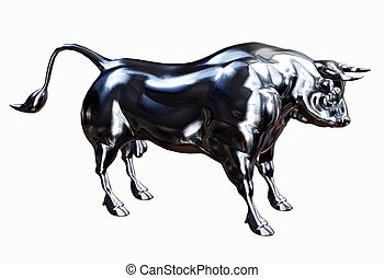 Silver Bull  - 3D render illustration of a silver bull