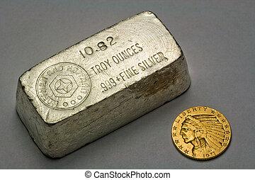 Silver Bullion Bar and Gold Coin