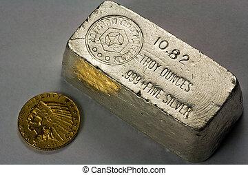 Silver Bullion Bar and Gold Coin - Old silver bullion bar...