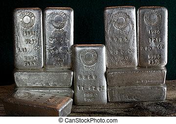 Silver bullion bars (ingots) produced by the Homestake Mining Company