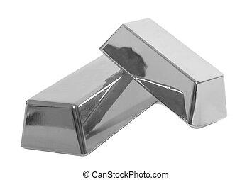 Silver bullion bars on white background