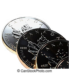 Silver Bullion Coins, isolated - Silver bullion coins,...