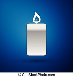 Silver Burning candle icon isolated on blue background. Old fashioned lit candle. Cylindrical aromatic candle stick with burning flame. Vector Illustration
