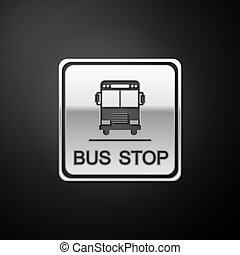 Silver Bus stop icon isolated on black background. Long shadow style. Vector