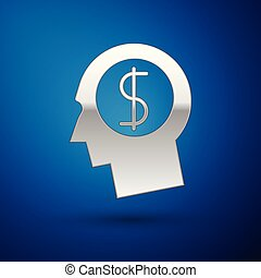 Silver Business man planning mind icon isolated on blue background. Human head with dollar symbol. Idea to earn money. Business investment growth concept. Vector Illustration