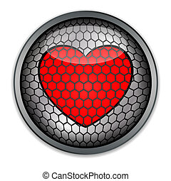 Silver button with red heart , vect