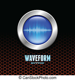 Silver button with sound wave sign - Silver button with blue...