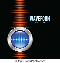 Silver button with sound waveform and orange wave - Silver...