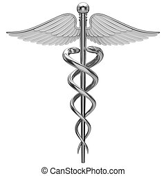 Silver caduceus medical symbol isolated on a white background.