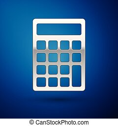 Silver Calculator icon isolated on blue background. Accounting symbol. Business calculations mathematics education and finance. Vector Illustration