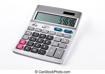 Silver calculator isolated on white background.
