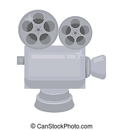 Silver camera with film. The award for the best filming of the movieie awards single icon in cartoon style bitmap symbol stock illustration.