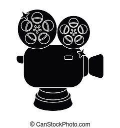 Silver camera with film.The award for the best filming of the movie.Movie awards single icon in black style vector symbol stock illustration.