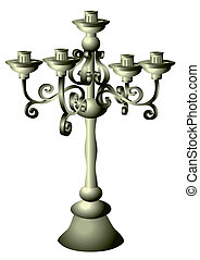 candelabrum - silver candelabrum isolated on the white...