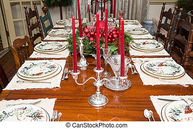 Silver Candleabras on Formal Christmas Table