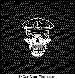 silver captain skull on metal background