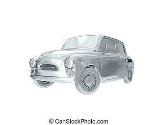 Silver car. 3D rendering