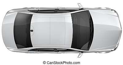 Silver car - top view - Silver car on a white background
