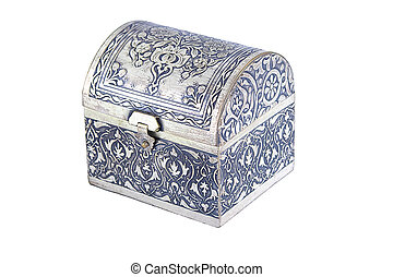Silver casket - An ornately decorated silver casket