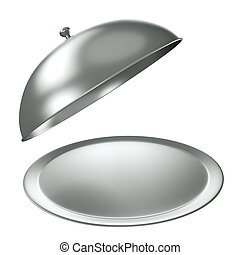 Silver catering tray with dome. 3D render.