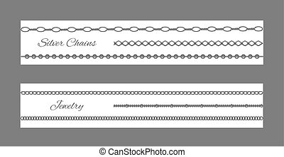 Silver Chain and Jewelry Set Vector Illustration