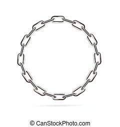 Silver Chain Frame Round. Vector
