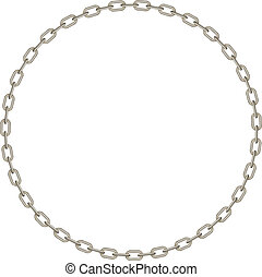 Silver chain in shape of circle on white background