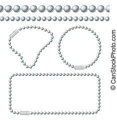 Silver Chain of Ball Links Set. Vector