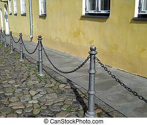 Silver chain row in the medieval part of the Town
