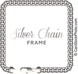 Silver chain square border frame. Rectangle wreath shape...