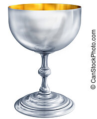 Silver chalice - Illustration of a highly polished antique...