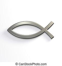 Silver Christ Fish . 3D Render Illustration - Silver Christ...