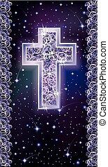 Silver Christian Cross holidays card, vector illustration