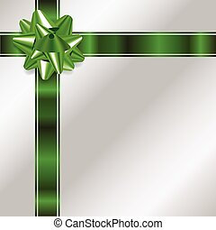 Silver Christmas Background with Green Bow and Ribbon