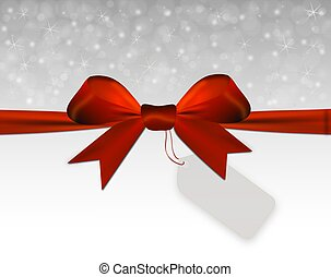 Silver Christmas background with red bow with price tag