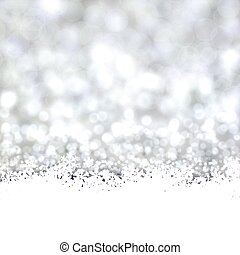 Silver christmas background with snow.