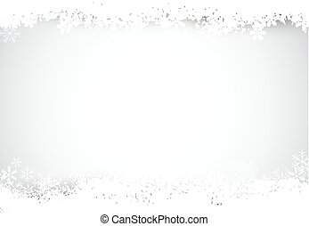 Silver christmas background with snow. - Silver defocused...