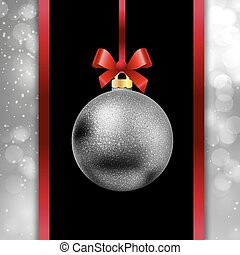 Silver Christmas ball hanging on a ribbon on bokeh background