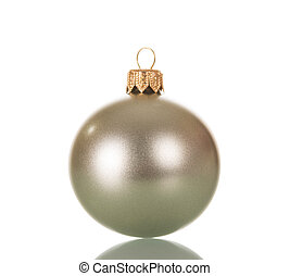 Silver Christmas ball toy, isolated on white