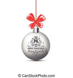 Silver Christmas Ball With Red Ribbon Bow Isolated On White Background