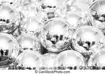 Silver Christmas balls background