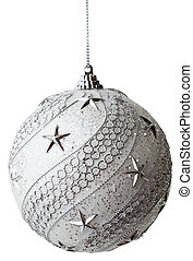Silver Christmas bauble with clipping path - Silver ...