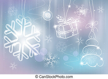Silver christmas card. Colorful vector illustration.