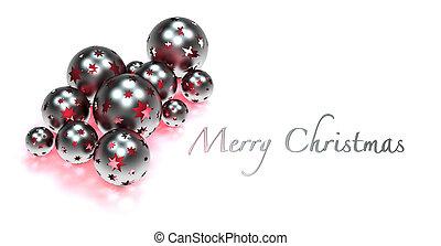 silver christmas decoration - red illuminated christmas...