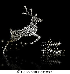 Silver Christmas deer made of snowflakes with stars on black background. Vector eps10 illustration
