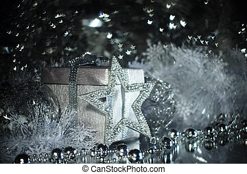 Silver christmas gift and decoration