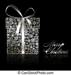 Silver Christmas gift box made of snowflakes and stars on black background. Vector eps10 illustration