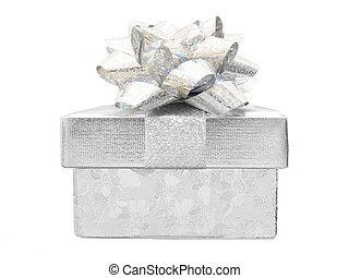 Silver Christmas gift box