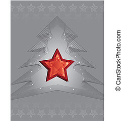 Silver Christmas tree and red diamond star design